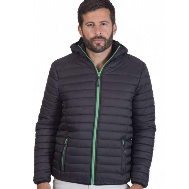 Fashion Cuir Doudoune legere avec capuche Taille Homme - L, Couleur - noir