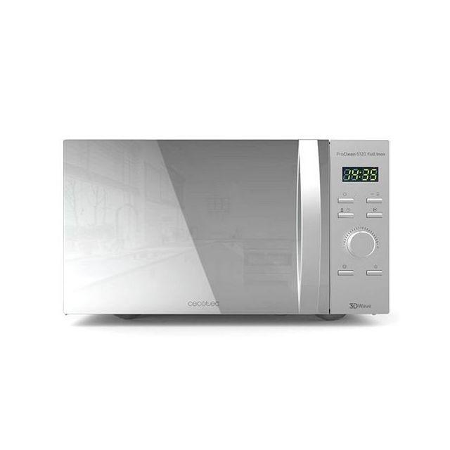 Totalcadeau Micro-ondes avec grill avec plateau tournant 20 L 700W Argenté - Micro ondes fonction décongelation