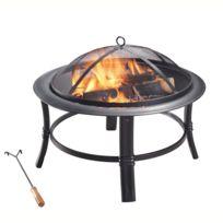 Braséro extérieur jardin en acier brûleur bois avec couvercle grille et tisonnier noir CU297