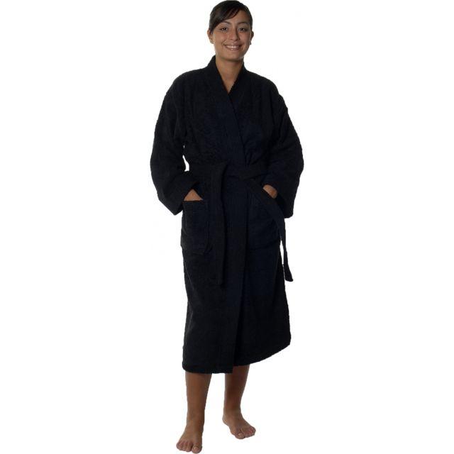 Homemaison Peignoir col kimono en Coton couleur Noir Taille L