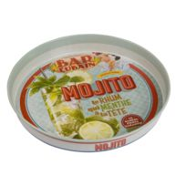 Natives - Plateau rond en métal motif cocktail Mojito D.34cm Bar Cubain