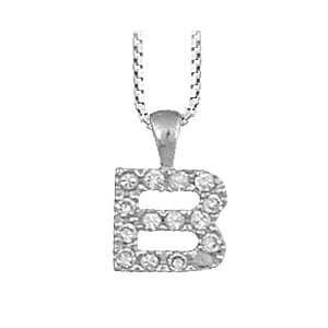 So Chic Bijoux Collier 40 Cm Avec Pendentif Initiale Lettre B Oxyde De Zirconium Argent 925