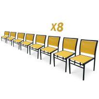 Dcb Garden - Lot de 8 chaises aluminium noir et textilène jaune