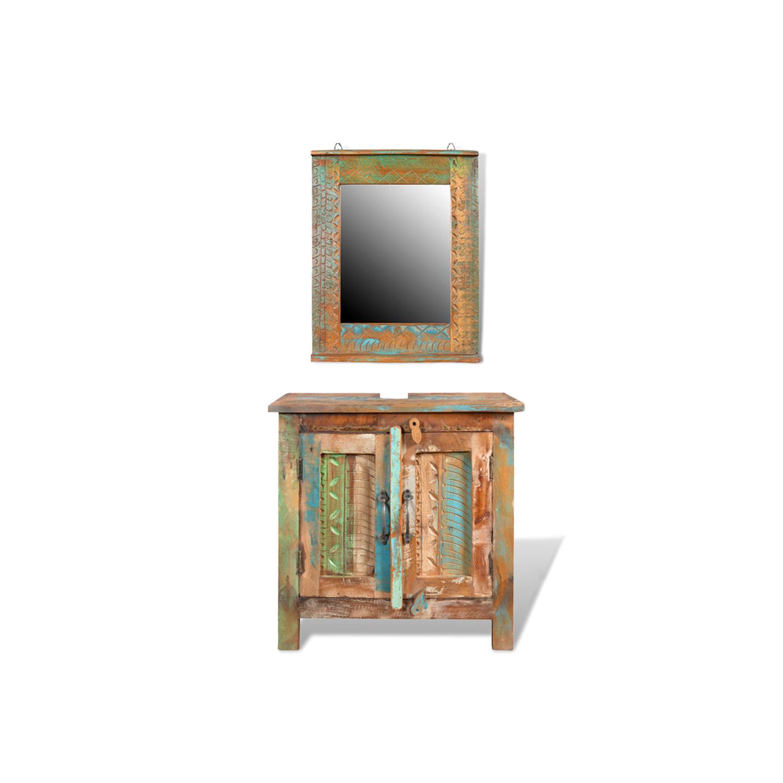 vidaxl ensemble meuble sous vasque et miroir en bois massif recycl
