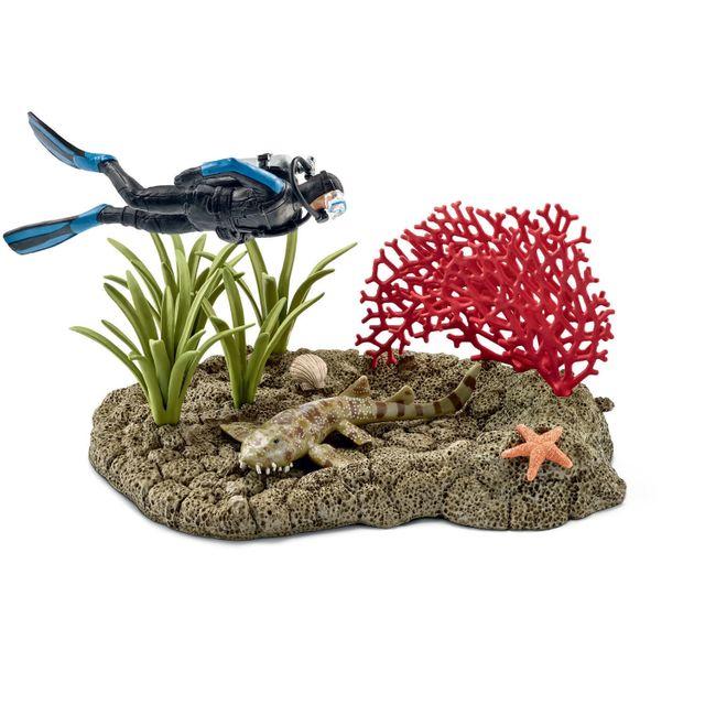 Plongeur dans un récif corallien - 42328