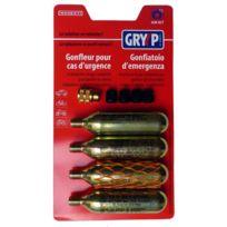 Gryyp - Kit 4 cartouches Co2 + adaptateur pour gonflage d'urgence