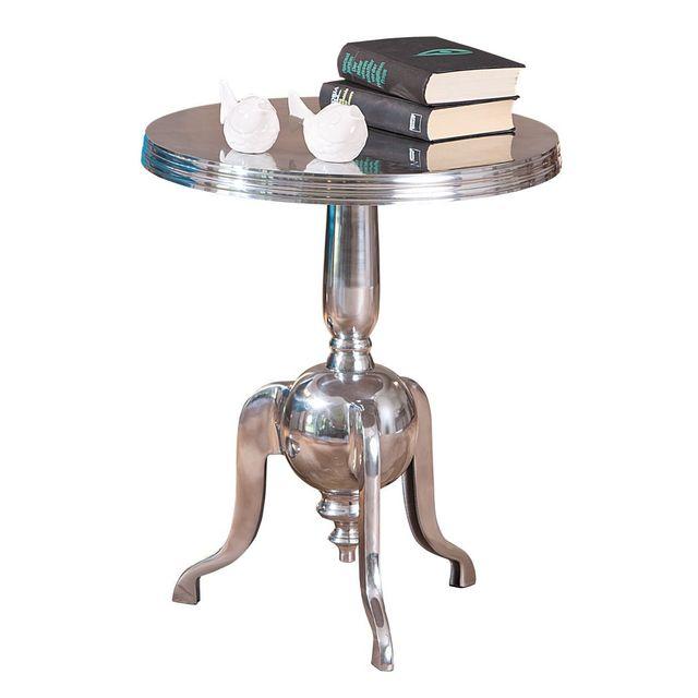 Comforium Petite table d'appoint ronde en métal design moderne