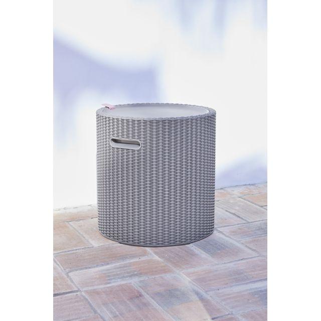KETER Coffre 3 en 1 Cool Stool Cappuccino - 17200045 La Cool Stool de Keter dispose d'une grande capacité, elle résiste aux UV et aux intempéries et sert également de table d'appoint. Concept 3-en-1 : assise, table d'appoint et