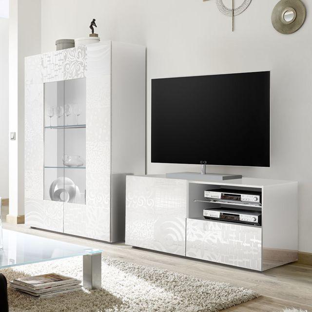 Kasalinea Ensemble télé blanc laqué design Nerina