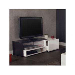 vente unique meuble tv alcide 2 niches 1 tiroir coloris noir - Meuble Tv Blanc Vente Unique