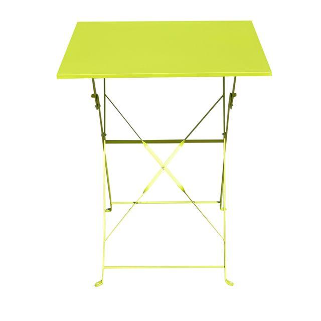 PEGANE - Table de jardin pliante carrée coloris vert - Dim : 60 x 60 ...