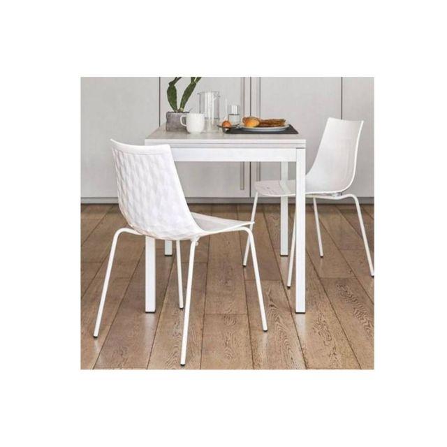 Inside 75 Table repas extensible Snap Book 110x70 en chêne blanc piétement métal blanc