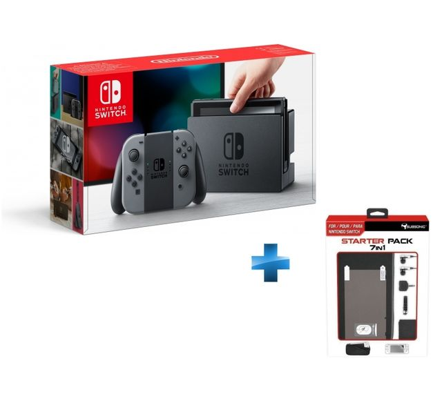 NINTENDO - Console Switch avec une paire de Joy-Con Gris + Starter pack Switch 7 in 1 - SWITCH