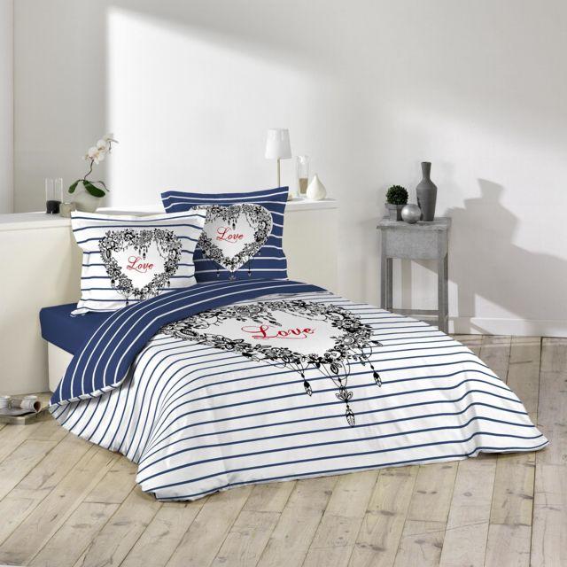 la maison d 39 amelie parure de couette 100 coton 260x240 love day bleu violet blanc 260cm x. Black Bedroom Furniture Sets. Home Design Ideas