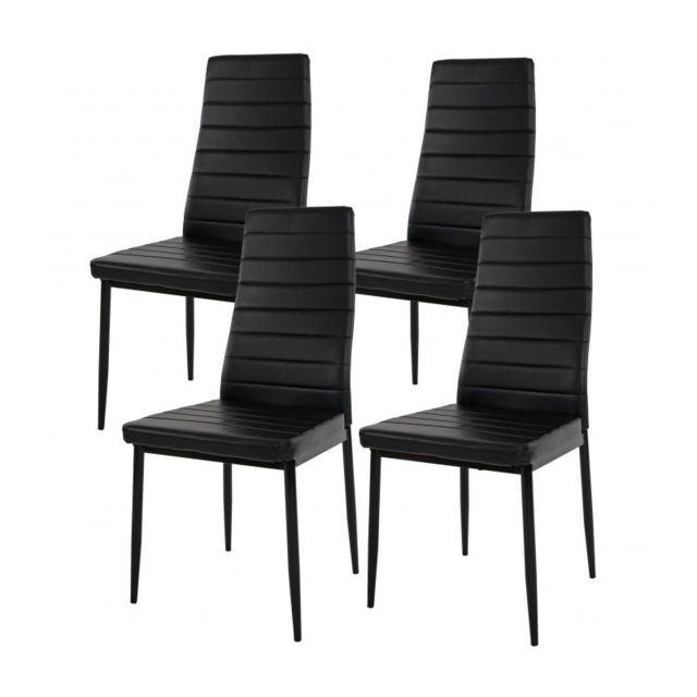 Autre Lot de 4 chaises de salle à manger noir cuir Pu Cds04112
