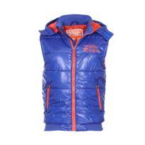 Biaggio - Doudoune sans manches à capuche amovible bleu royal à détails orange