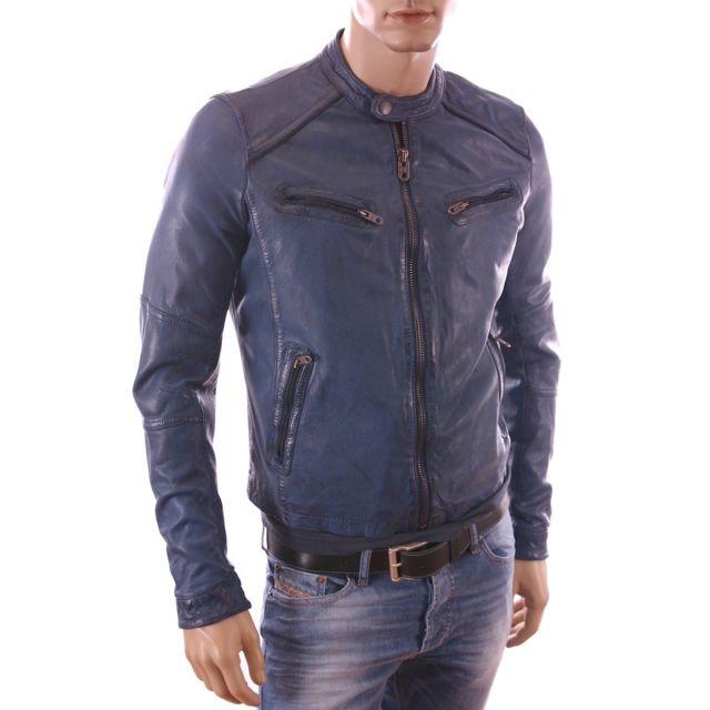 blouson cuir homme couleur bleue