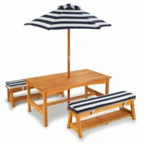 Sans Marque - KidKraft Jeu de table et banc de jardin pour enfants Bois Bleu 00106