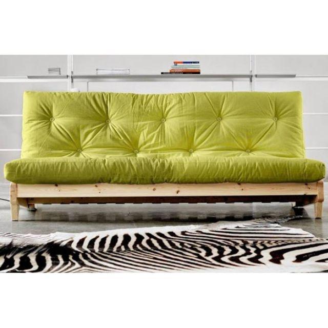 Inside 75 Banquette lit futon vert anis Fresh 3 places convertible couchage 140 200cm