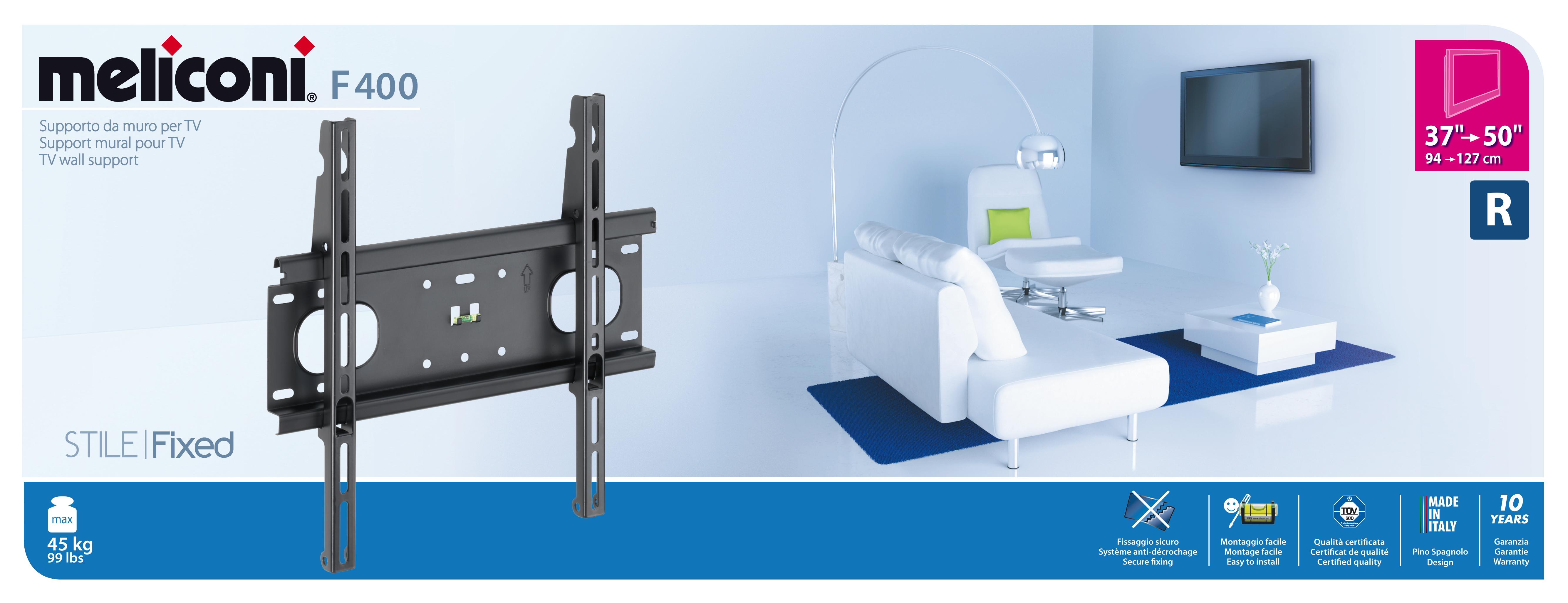 meliconi support mural fixe en m tal pour tv de 40 50 pas cher achat vente support. Black Bedroom Furniture Sets. Home Design Ideas