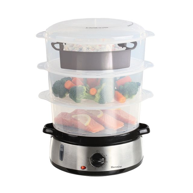 Domoclip Cuiseur vapeur et riz 2 en 1 base inox - 3 étages avec bols amovibles - capacité 9L