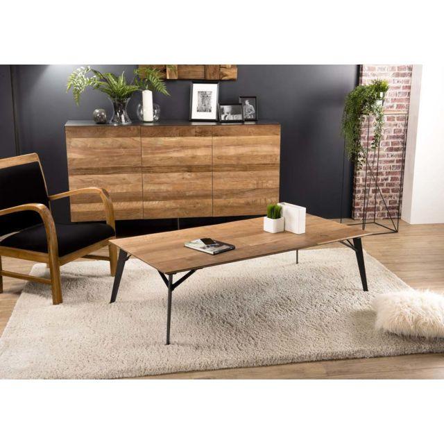 MACABANE Table basse rectangulaire 140x70cm Teck recyclé pieds métal
