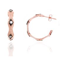Alexandra Plata - Boucles d'oreilles créoles en argent sterling plaqué or rose