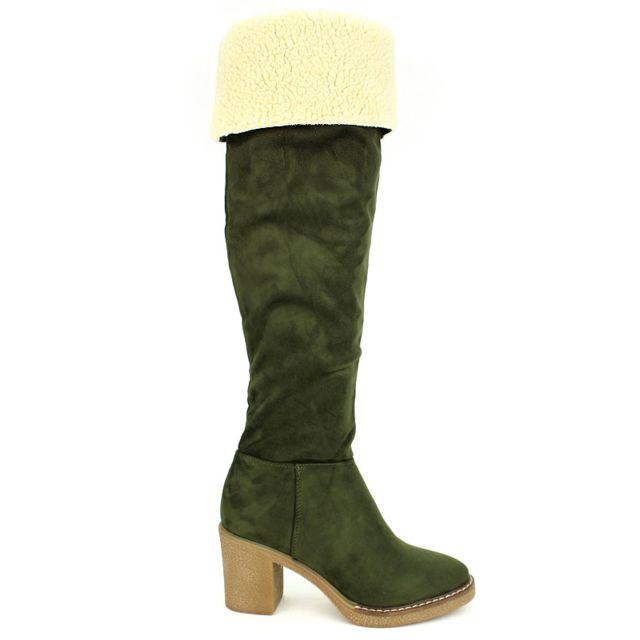 08b2309a72b616 Cendriyon - Botte Kaki simili cuir Season D Mode - pas cher Achat / Vente  Boots femme - RueDuCommerce