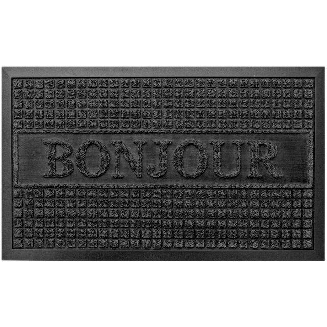 promobo paillasson tapis entr e luxe antid rapant caoutchouc inscription bonjour noir 45 x. Black Bedroom Furniture Sets. Home Design Ideas