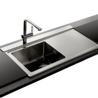 Apell - Évier inox lisse Osiris 1 bac avec égouttoir à droite + 2 planches en verre noir
