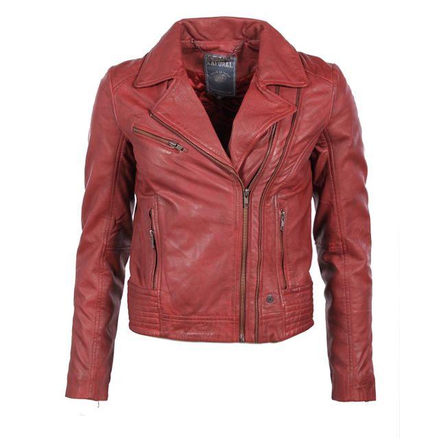 1e882d1646c37c Kaporal 5 - Kaporal - Femme - Veste Biker en cuir bordeaux Crank style  perfecto