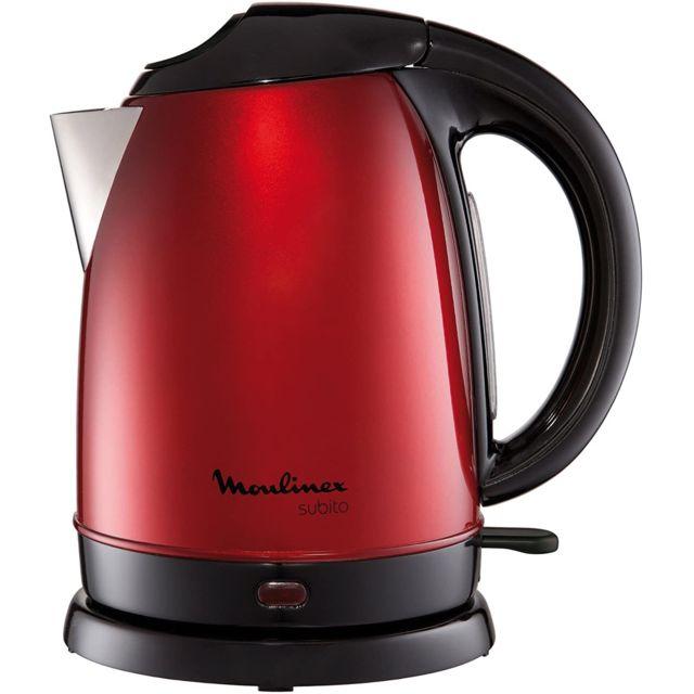 Moulinex bouilloire électrique de 1,7L sans fil avec base 360° 2000W rouge noir