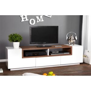 chloe decoration meuble tv design empire marron et blanc pas cher achat vente meubles tv. Black Bedroom Furniture Sets. Home Design Ideas