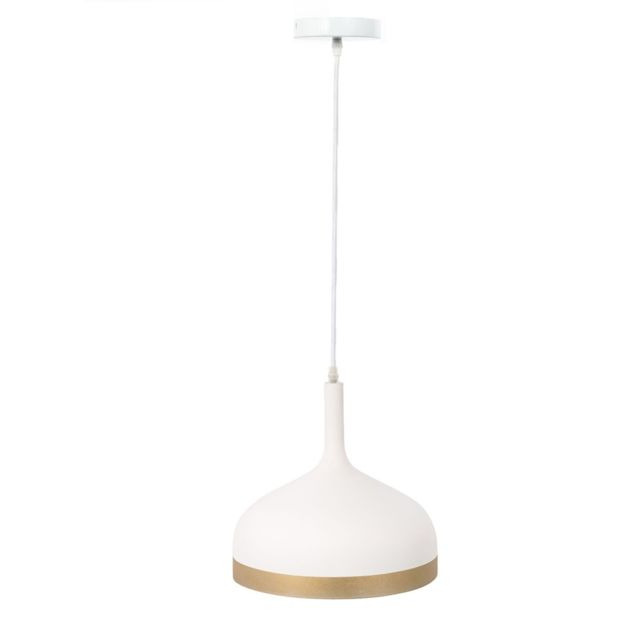 The Home Deco Factory Suspension luminaire en métal Cloche - Diam. 30 cm - Blanc