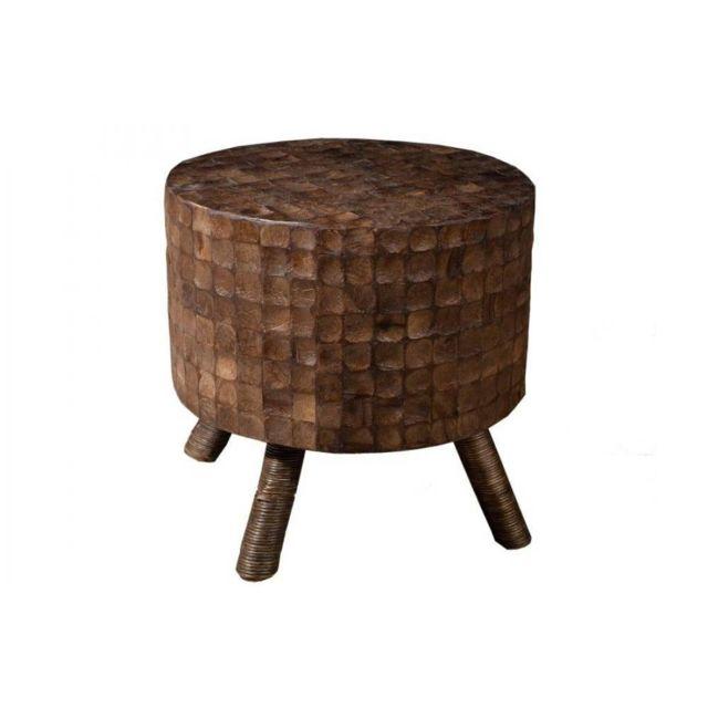 Inside 75 Tabouret rond design Clara en coconut coloris café style colonial