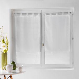 douceur d 39 interieur une paire de rideau voilage 60 x 120 cm coupe dandy blanc pas cher achat. Black Bedroom Furniture Sets. Home Design Ideas