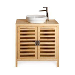 Alin a nature meuble sous vasque de salle de bains 80cm for Meuble salle de bain en bambou