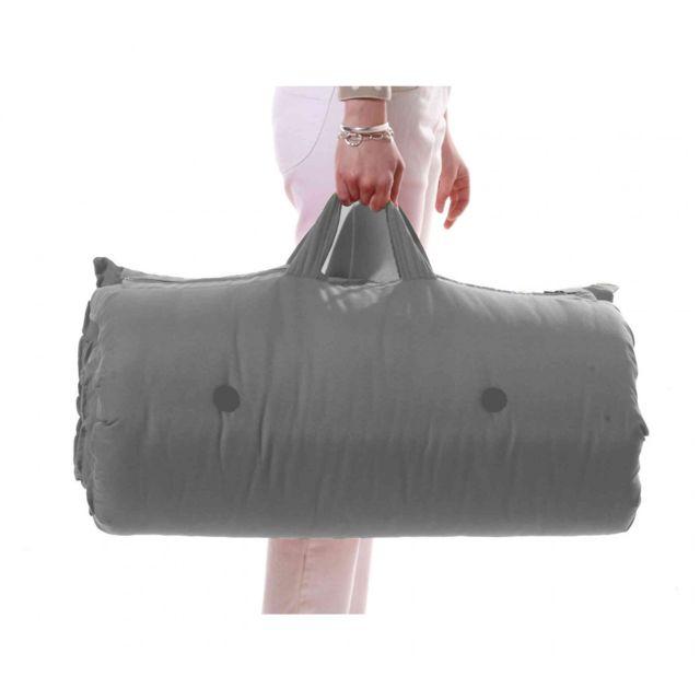 TERRE DE NUIT Matelas futon de voyage coton gris clair 70x190