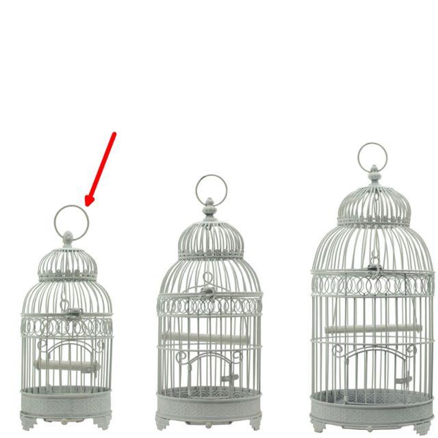 L'ORIGINALE Deco Petite Cage à Oiseau Rond en Fer de Décoration Blanc 40 cm x ø16.50 cm