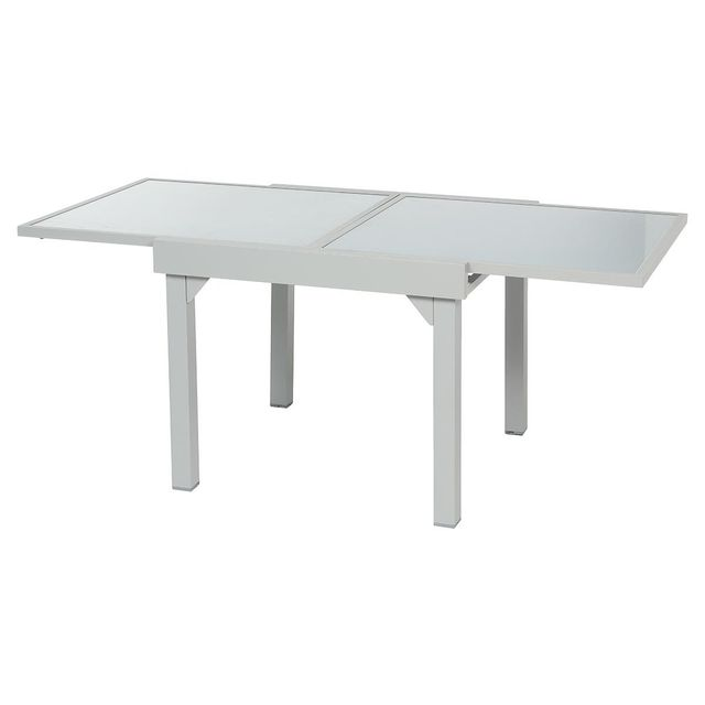 HESPERIDE - Table extensible carrée en verre Piazza 4/8 places Gris ...