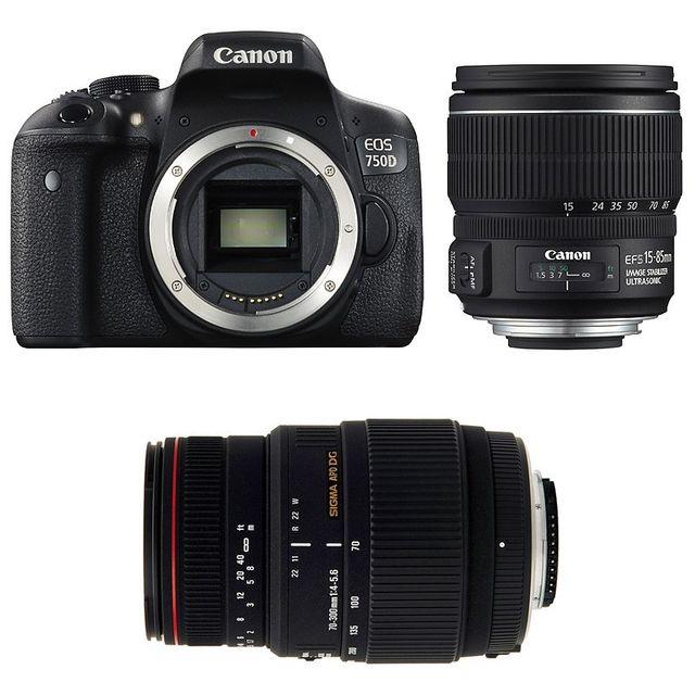 Canon Eos 750D + Ef-s 15-85 mm f/3.5-5.6 Is + Sigma 70-300 F4-5.6 Dg Apo Macro Garanti 3 ans