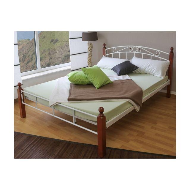 homestyle4u design metal lit double 180 x 200 cadre de lit lattes bois blanc marron 90cm x. Black Bedroom Furniture Sets. Home Design Ideas