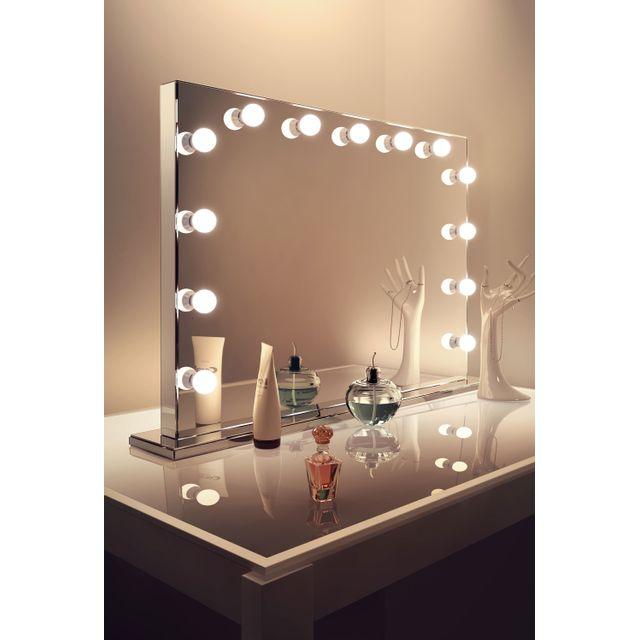 diamond x collection miroir de maquillage hollywood finition miroir led graduables blanc froid. Black Bedroom Furniture Sets. Home Design Ideas