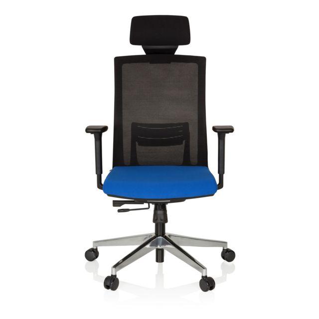 Chaise bureau fauteuil Captiva assise tissu dossier maille noir bleu