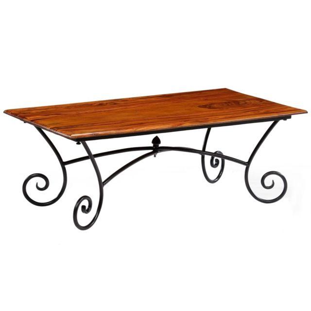 Vidaxl Table Basse Pieds Bouclés Bois de Sesham Table de Salon Table de Canapé