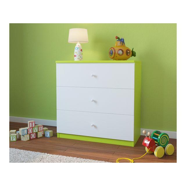 Carellia Commode Enfant 3 Tiroirs – Vert Citron