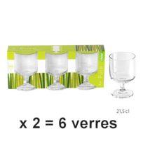 Kb8 - Verres à pied x 6 à vin droits 21,5cl Pure