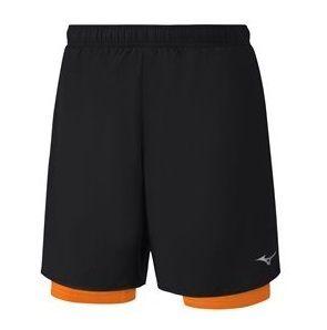 Mizuno - Short Helix Square 7.5 2 En 1 Noir Et Orange Short Running Homme  avec cuissard intégré - pas cher Achat   Vente Corsaires ffc21fa75dd