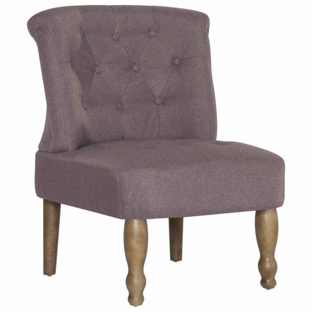 Fauteuil chaise siège lounge design club sofa salon s françaises 2 pcs taupe tissu 1102260