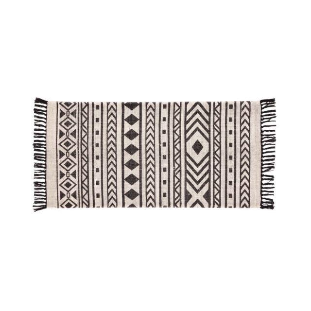 dlm tapis en coton noir et blanc ethnique 60x110cm bolivi pas cher achat vente tapis. Black Bedroom Furniture Sets. Home Design Ideas